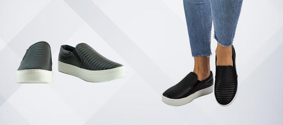 imagem mostrando tênis do tipo slip on de frente e outra imagem uma pessoa com o tênis calçado
