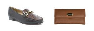 imagem de um sapato e uma carteira de couro